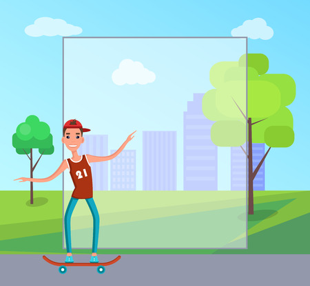 Teenager rides modern skateboard. Young man on skate, skateboarder in t-shirt and jeans cartoon flat vector illustration that has place for text. Illusztráció