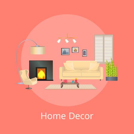 Home Decor, Comfortable Flat, Vector Illustration 向量圖像