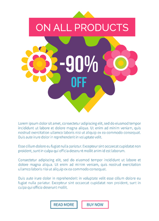 All products 90 off total absolute final sale label with flower blossoms, summer or spring price off emblem vector on white online poster push button Standard-Bild - 110488052