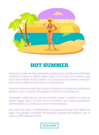 Hot Summer Web Poster Tropical Beach and Woman Standard-Bild - 107533923