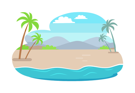Tropical summer with mountains, blue sky over palm trees. Best place for freelancer work, seascape composed of ocean and sand vector illustration.