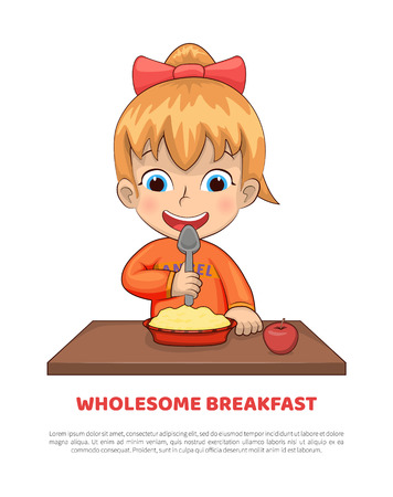 Wholesome breakfast poster with text sample headline, girl eating nutrition meal, cereals and apple on table, toddler female isolated vector illustration
