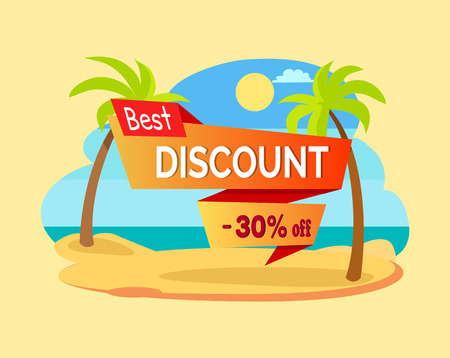 Best discount -30 off poster palms on seaside with sun and good weather, super price clearance, vector illustration isolated yellow backdrop Imagens - 107372035