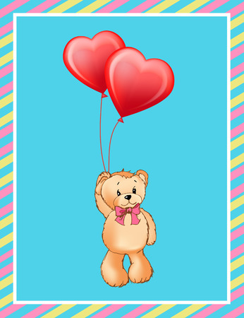 Poster with cute teddy bear holding red heart shape balloons in paw vector illustration greeting card design on blue background in colorful framing