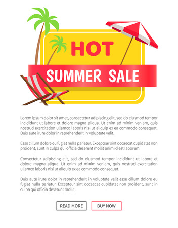 Summer hot sale web poster with push buttons, palm trees at coastline, chaise longue and striped umbrella, best prices at summertime concept vector