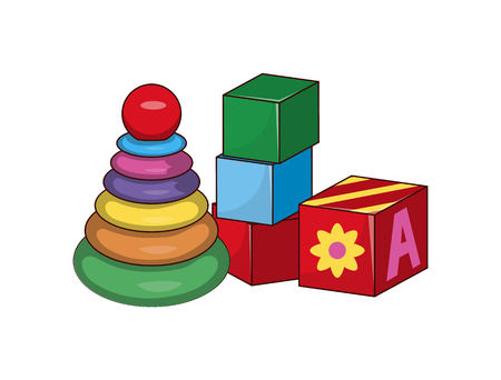Children s pyramid, cubes first baby constructors, building blocks toys, bricks with ABC letters vector illustration set of elements for kids play isolated