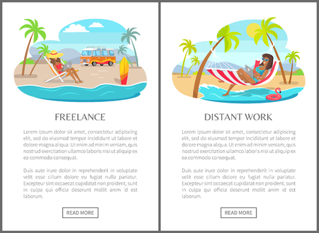 Freelance and distant work commercial banners set. Women in swimsuits typing on laptops in recliner and hammock online web pages vector illustrations.