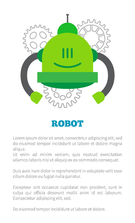 Mechanical Robot in Green Corpus with Two Tubes Illustration