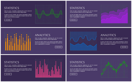 Statistics and analytics poster, vector diagrams, illustration with colorful charts, statistical plots set, infographics collection, business strategy