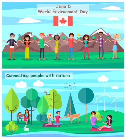 June 5 Connecting People with Nature Set Posters Illustration