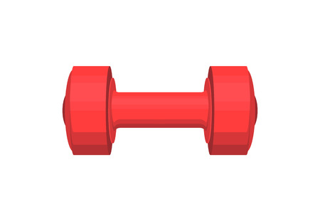 Red heavy dumbbell with round cylindrical handle, sport tool isolated on white background, weight in rubber cover cartoon flat vector illustration.