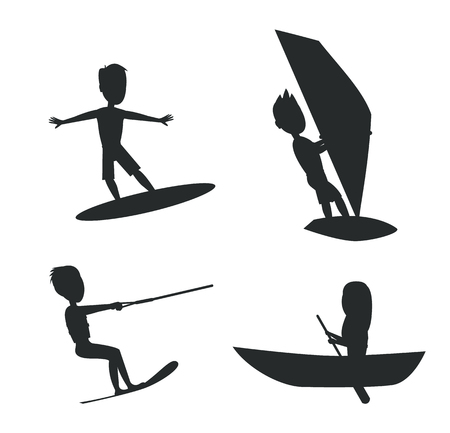 Summer set of silhouettes kitesurfing and windsurfing, surfing or boating with oar seasonal sport vector illustration isolated on white background.