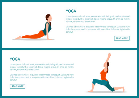 Yoga healthy lifestyle, colorful Internet banner, crescent moon and up dog positions, text sample, cartoon flat vector illustrations set on white.