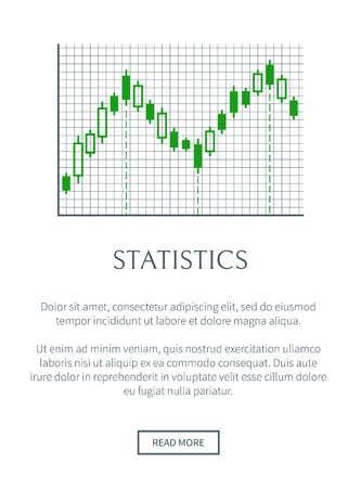 Statistics card with green chart isolated on grid, vector illustration, text sample, push button, rectangles set, infographic data representation