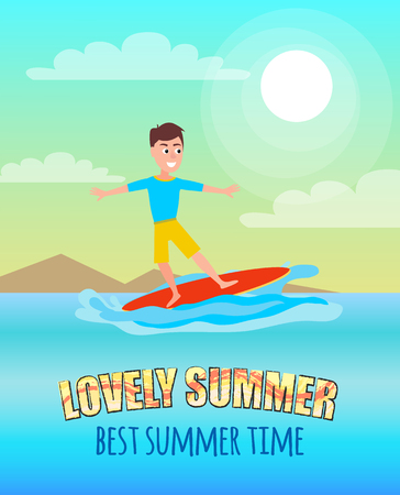 Lovely summer best summertime poster surfing sport activity with young surfer on surfboard, surfboarding as seasonal amusement vector at coastline.