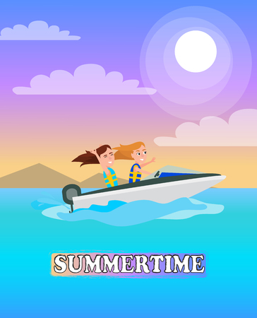 Summertime poster boating activity in summer, girls having fun while riding boat, modern vessel on water of sea, seasonal sport, vector at coastline.