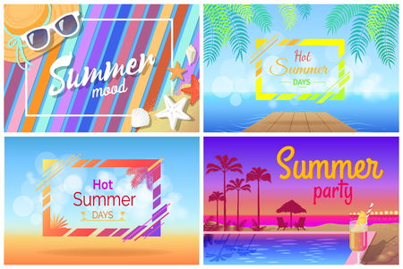 Summer landscape or beach composition posters. Pool near cocktail with palms, sunset and blanket on sand, holiday accessories vector illustrations.