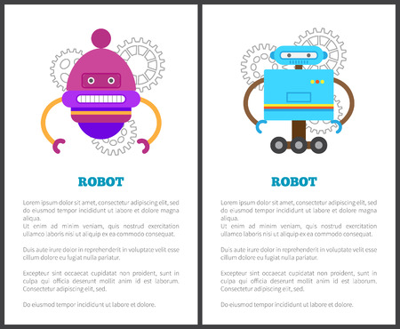 Robot collection of promo posters, text sample, headlines over gears, bots with face and wheels set vector illustration isolated on white background Stock fotó - 110488075