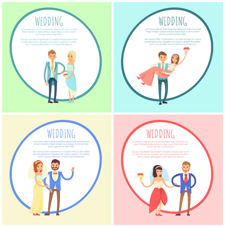 Newlyweds in Wedding Gowns and Festive Suits Set Stock Photo