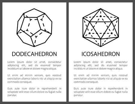 Dodecahedron and Icosahedron Black Templates Card 스톡 콘텐츠
