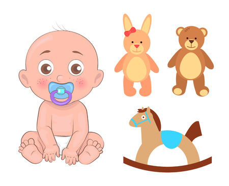 Boy with dummy in its mouth, male kid wearing diapers, set of toys, fluffy bear, rabbit and red bow on ear, cute horse isolated on vector illustration Illustration