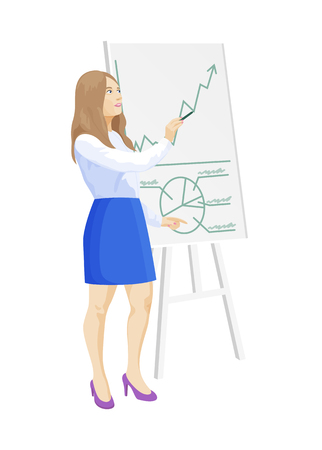 Woman at whiteboard given information, presentation business seminar, supplies and presenter vector illustration isolated on white background