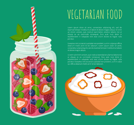 Vegetarian food poster refreshing summertime detox diet juice with strawberries and raspberries, bowl of rice porridge, place for text vector isolated Ilustração
