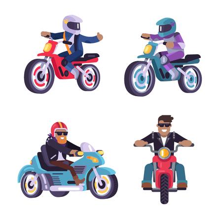 Colección de corredores de bicicletas motorizadas hombres aislados sobre fondo blanco, personas en ciclomotores motos deportivas ilustración vectorial ciclistas montan en motos modernas