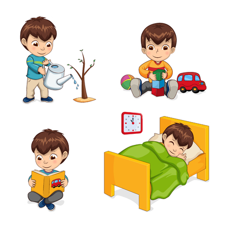 Sleeping boy and activities set, gardening watering plant, playing with car constructor cubes, reading yellow book, isolated on vector illustration Vector Illustration
