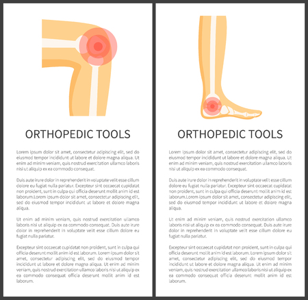 Orthopedic tools posters text sample and titles, pain localization in knee foot, traumas of human body, banners set collection vector illustration