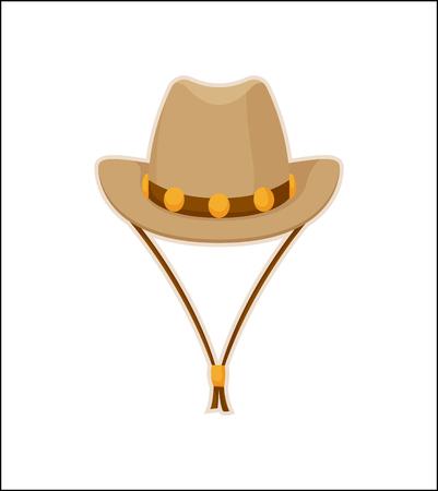 Cowboy Hat American Style Headwear Vector Icon