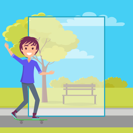 Teenager skating in city park vector illustration with framed transparent rectangle, bright sky clouds, bench and smiling male waving his hand