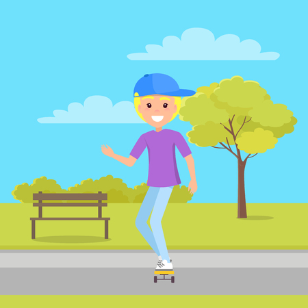 Boy good mood skating in park, bench among bushy trees, clouds at sky, person outdoors practice active lifestyle isolated on vector illustration