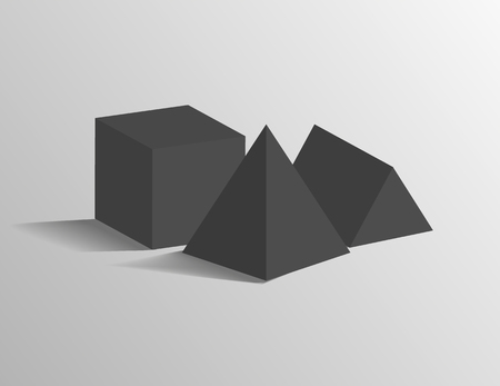 Square pyramid, tetrahedron triangular prism and cube 3D geometric black shapes isolated on grey. Three dimensional figures vector illustrations.