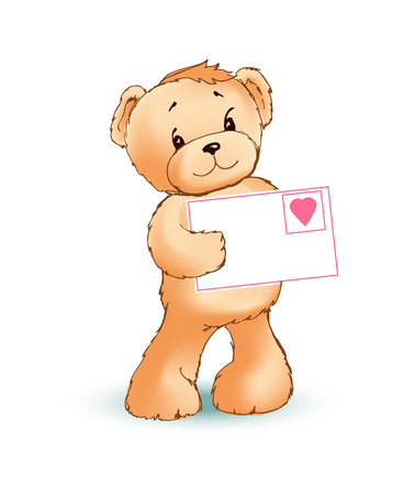 Teddy bear with shy and modest mood holding letter with icon of heart, made with love, poster and vector illustration isolated on white background Çizim