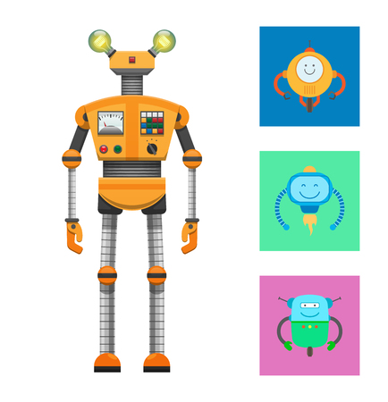 Robot Collection and Icons Vector Illustration Illustration