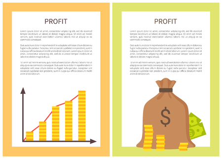 Profit banners with growing chart and money bag, vector illustration with coins pillars dollars, text sample of success business idea strategy concept