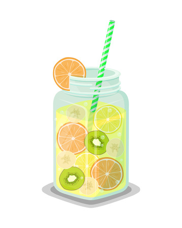 Mug of refreshing drink with fresh kiwi, grapefruit and orange slices, banana and lemon pieces vector dieting cocktail with straw isolated on white Illustration