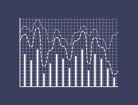 Statistical bars and dotted curves on coordinate system and checkered field. Combined graphic for business presentation isolated vector illustration.