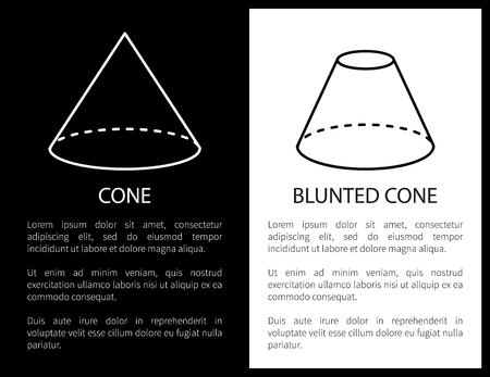 Blunted or simple cone geometric shapes, basic figures sketches made from lines and dashes, projections vector illustrations vertical posters set. Çizim