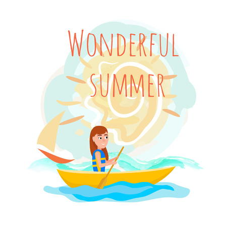 Wonderful summer poster with girl kayaking sitting in boat and holding oar, seasonal sport activity outsid, cartoon flat vector isolated on white. Illustration