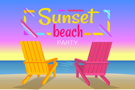 Sunset on beach, summer party, banner with yellow and pink loungers, beautiful view of calm ocean, summertime sky, flat vector illustration fun time. Illustration