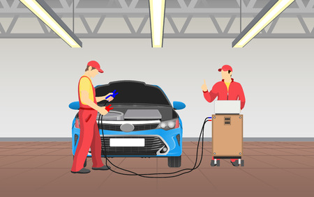 Car service and busy workers wearing special costumes caps, tool box with wires for testing of repaired automobile, garage job vector illustration