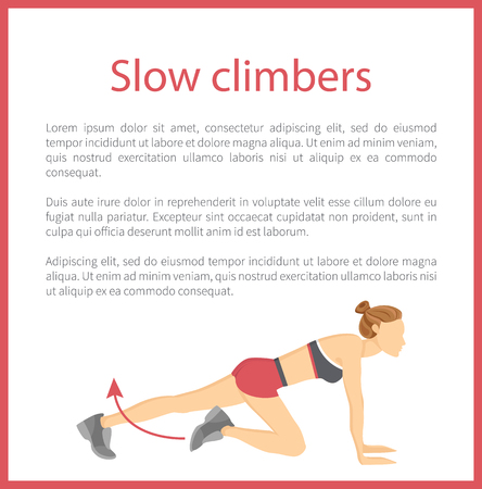 Slow climbers poster headline tabata exercise and text sample with fitness information banner frame vector illustration isolated on white background.