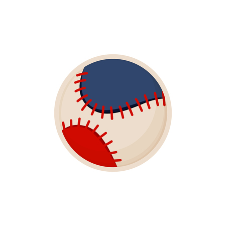 Baseball leather round ball sketch colorful vector illustration, sphere with red strings set, item blue parts isolated sport equipment image