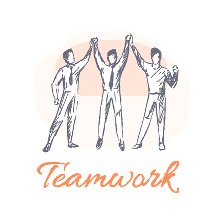 Teamwork poster and team, banner businessmen giving high-five to each other, working men, cooperation of people, isolated on vector illustration