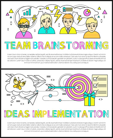 Team brainstorming posters set ideas implementation diagrams charts in thoughts of working people, target with arrow collection vector illustration