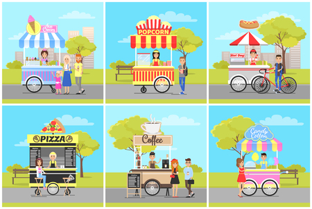 Popcorn and Ice Cream, Pizza and Coffee Carts Illustration