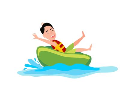 Donut ride boy having fun, summertime and activities, seawater, summer activity, vector illustration isolated on white illustration