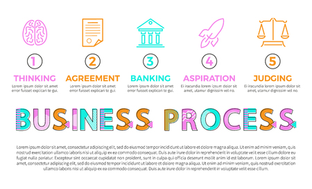 Business process icons of different operations, isolated vector illustration, thinking agreement and banking steps, aspiration and judging events